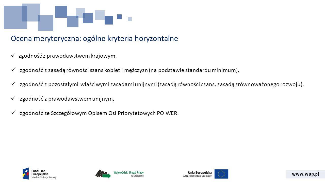 www.wup.pl Ocena merytoryczna: ogólne kryteria horyzontalne zgodność z prawodawstwem krajowym, zgodność z zasadą równości szans kobiet i mężczyzn (na