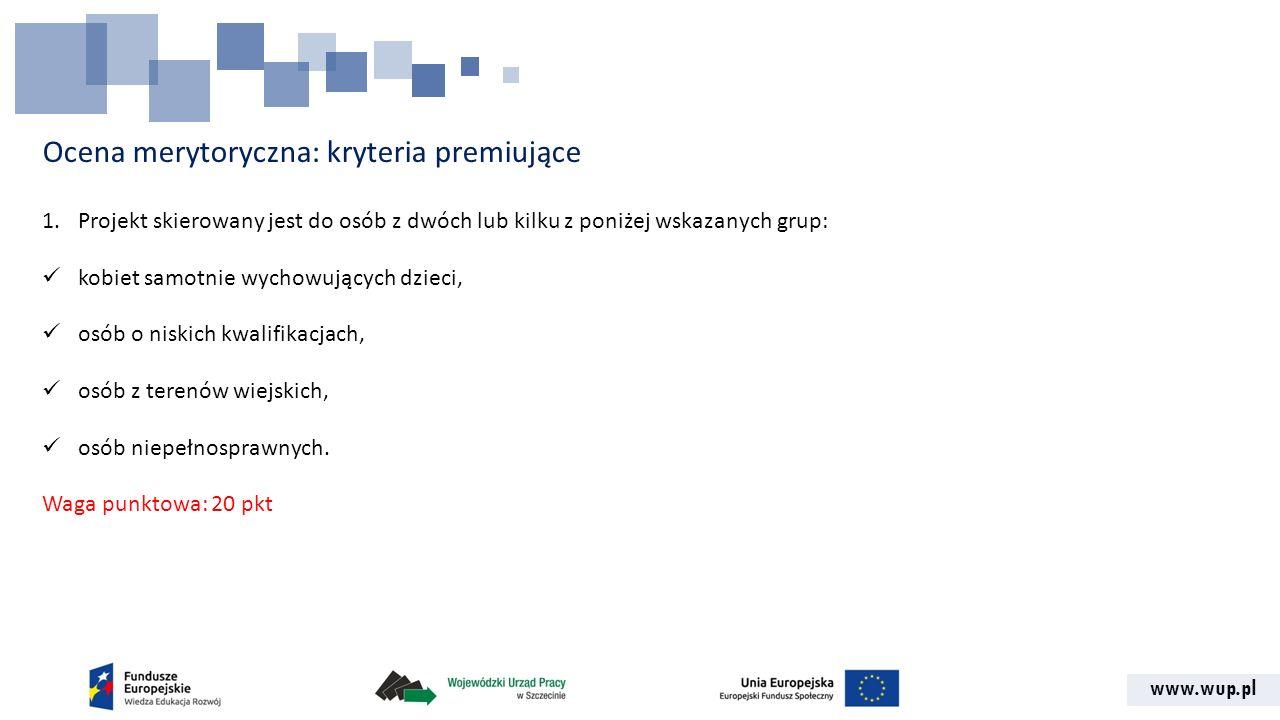 www.wup.pl Ocena merytoryczna: kryteria premiujące 1.Projekt skierowany jest do osób z dwóch lub kilku z poniżej wskazanych grup: kobiet samotnie wych