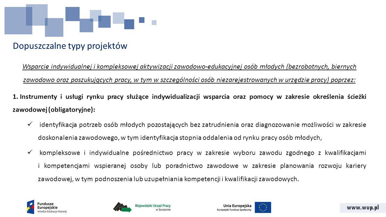 www.wup.pl Dopuszczalne typy projektów Wsparcie indywidualnej i kompleksowej aktywizacji zawodowo-edukacyjnej osób młodych (bezrobotnych, biernych zaw