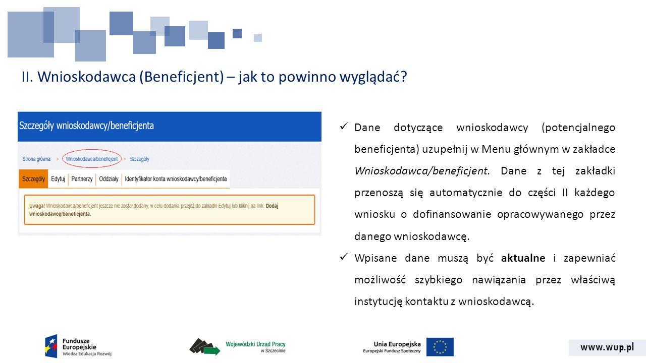 www.wup.pl II. Wnioskodawca (Beneficjent) – jak to powinno wyglądać? Dane dotyczące wnioskodawcy (potencjalnego beneficjenta) uzupełnij w Menu głównym