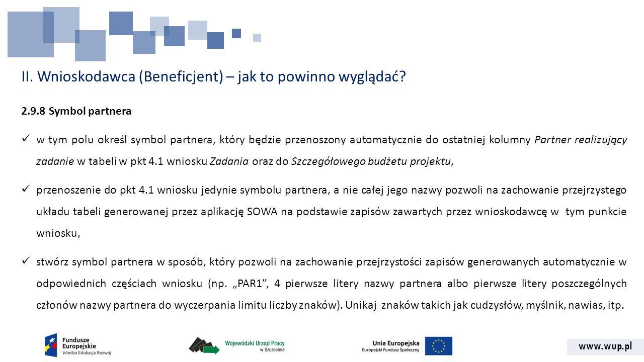 www.wup.pl II. Wnioskodawca (Beneficjent) – jak to powinno wyglądać? 2.9.8 Symbol partnera w tym polu określ symbol partnera, który będzie przenoszony