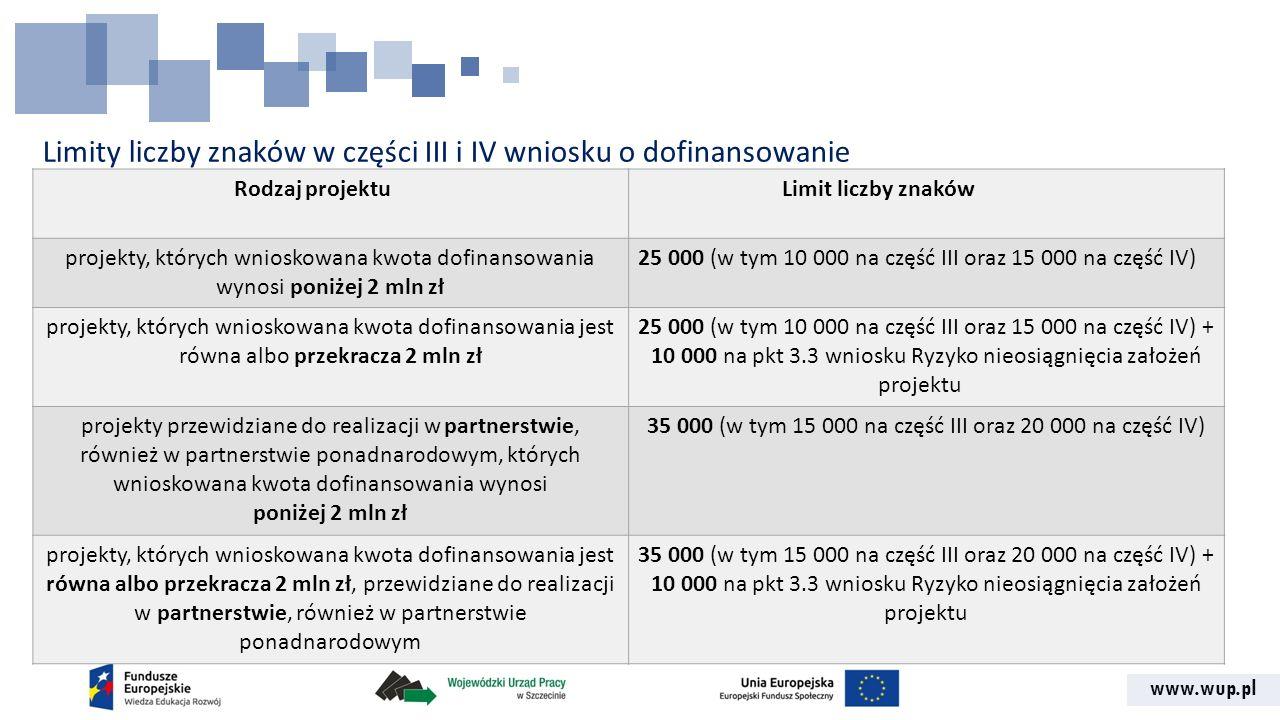 www.wup.pl Limity liczby znaków w części III i IV wniosku o dofinansowanie Rodzaj projektuLimit liczby znaków projekty, których wnioskowana kwota dofi