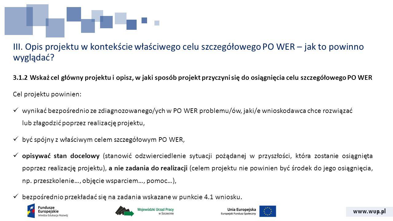 www.wup.pl III. Opis projektu w kontekście właściwego celu szczegółowego PO WER – jak to powinno wyglądać? 3.1.2 Wskaż cel główny projektu i opisz, w