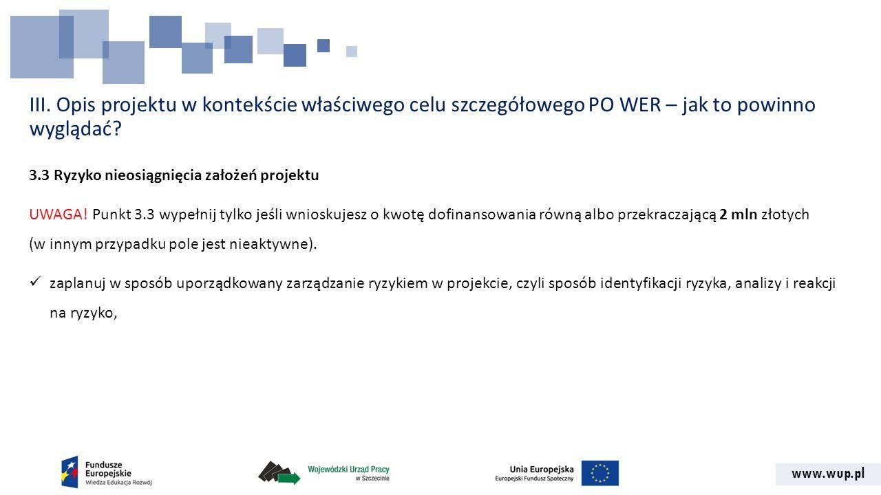 www.wup.pl III. Opis projektu w kontekście właściwego celu szczegółowego PO WER – jak to powinno wyglądać? 3.3 Ryzyko nieosiągnięcia założeń projektu