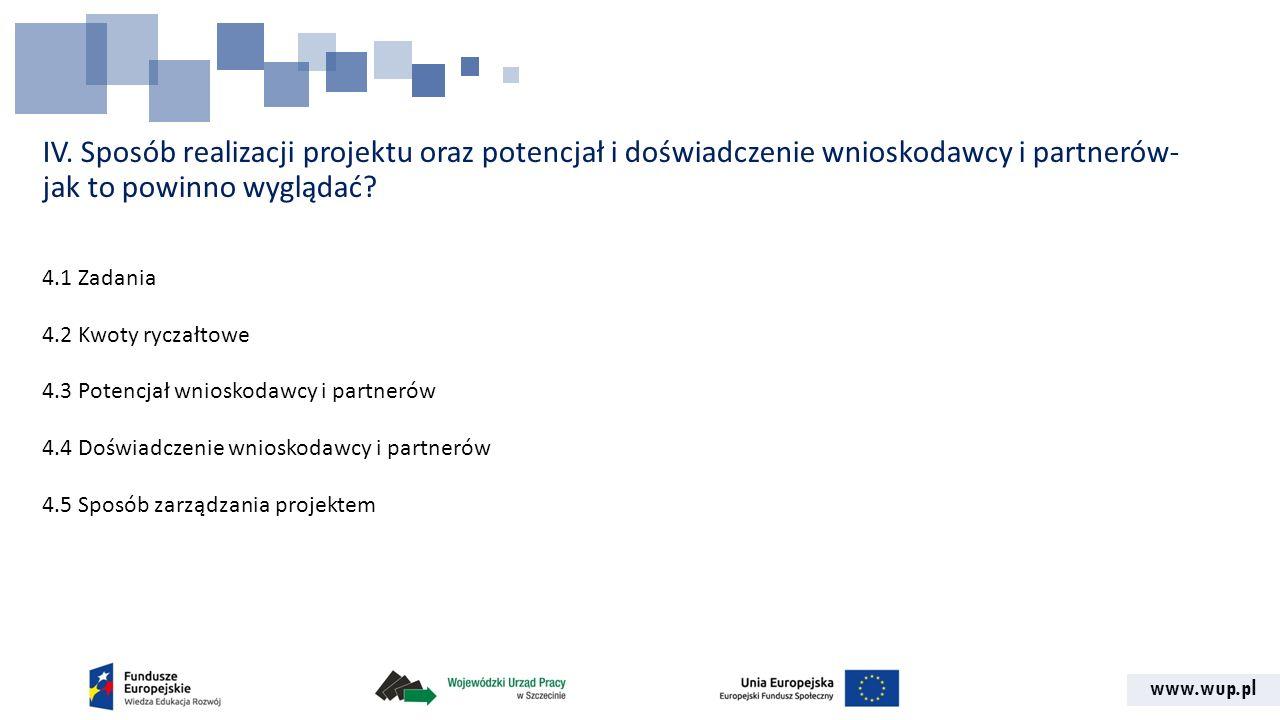 www.wup.pl IV. Sposób realizacji projektu oraz potencjał i doświadczenie wnioskodawcy i partnerów- jak to powinno wyglądać? 4.1 Zadania 4.2 Kwoty rycz