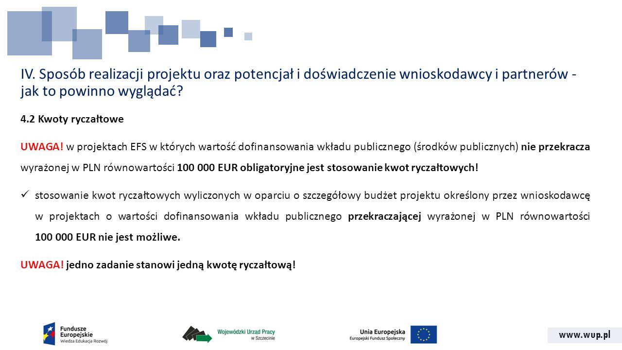 www.wup.pl IV. Sposób realizacji projektu oraz potencjał i doświadczenie wnioskodawcy i partnerów - jak to powinno wyglądać? 4.2 Kwoty ryczałtowe UWAG