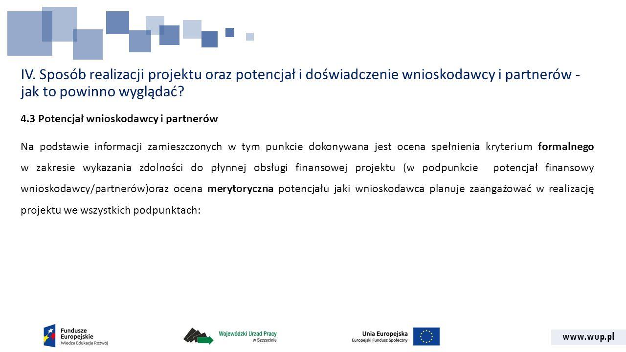 www.wup.pl IV. Sposób realizacji projektu oraz potencjał i doświadczenie wnioskodawcy i partnerów - jak to powinno wyglądać? 4.3 Potencjał wnioskodawc
