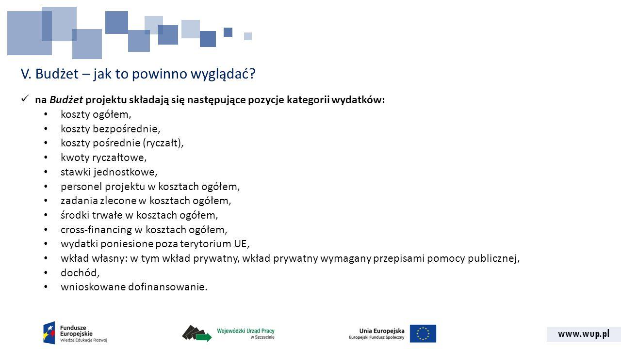 www.wup.pl V. Budżet – jak to powinno wyglądać? na Budżet projektu składają się następujące pozycje kategorii wydatków: koszty ogółem, koszty bezpośre