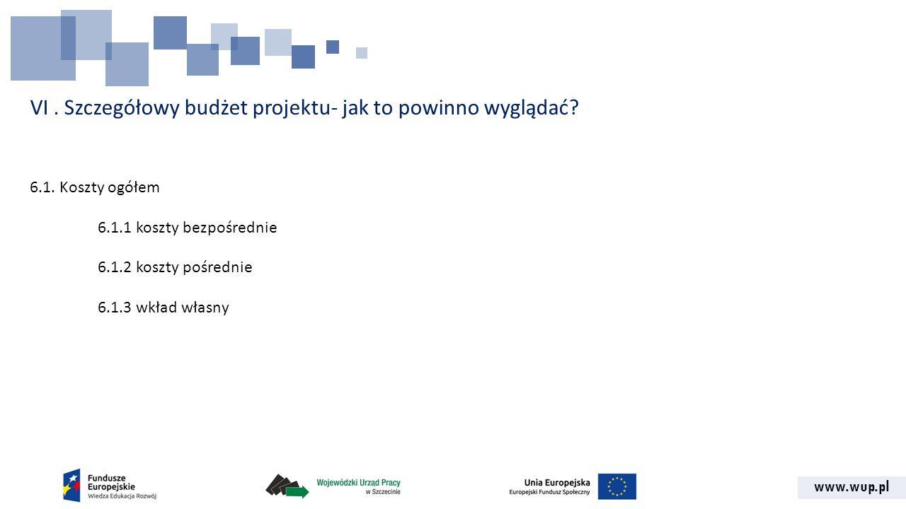www.wup.pl VI. Szczegółowy budżet projektu- jak to powinno wyglądać? 6.1. Koszty ogółem 6.1.1 koszty bezpośrednie 6.1.2 koszty pośrednie 6.1.3 wkład w