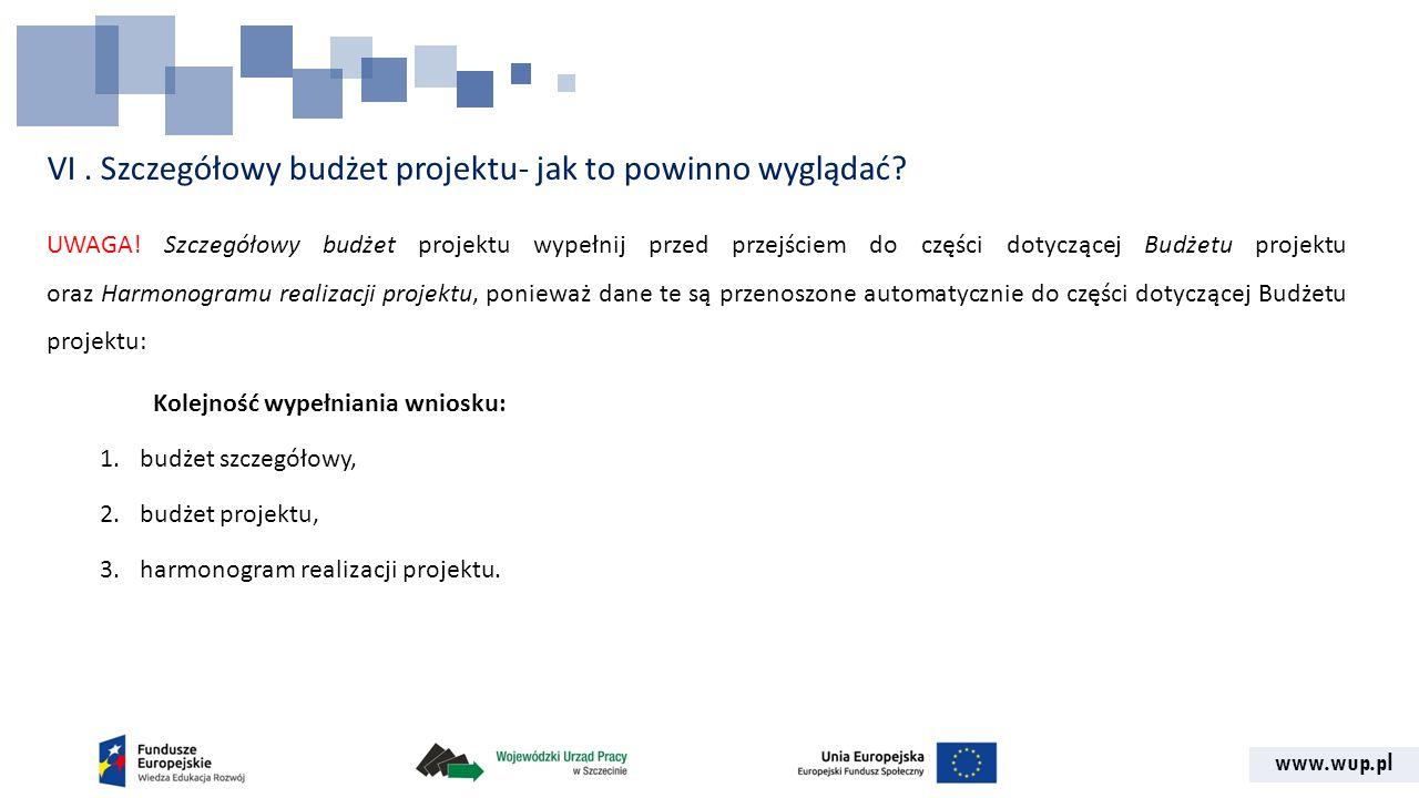 www.wup.pl VI. Szczegółowy budżet projektu- jak to powinno wyglądać? UWAGA! Szczegółowy budżet projektu wypełnij przed przejściem do części dotyczącej