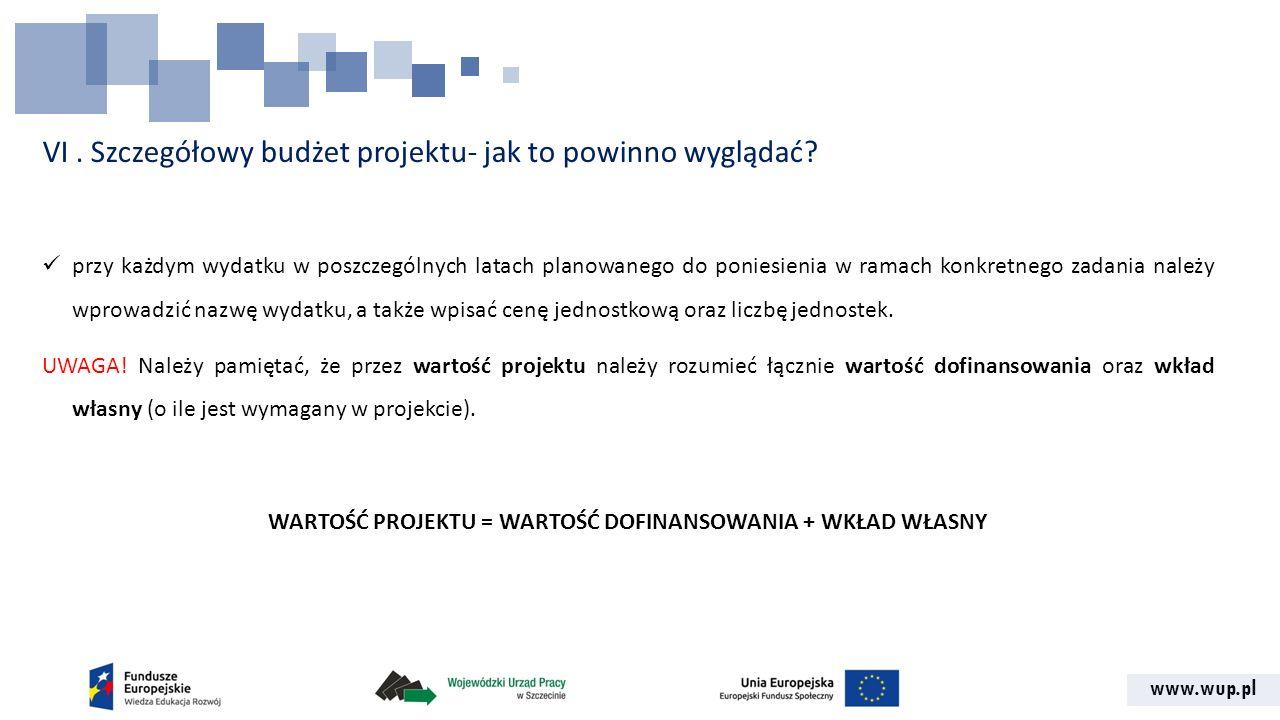 www.wup.pl VI. Szczegółowy budżet projektu- jak to powinno wyglądać? przy każdym wydatku w poszczególnych latach planowanego do poniesienia w ramach k