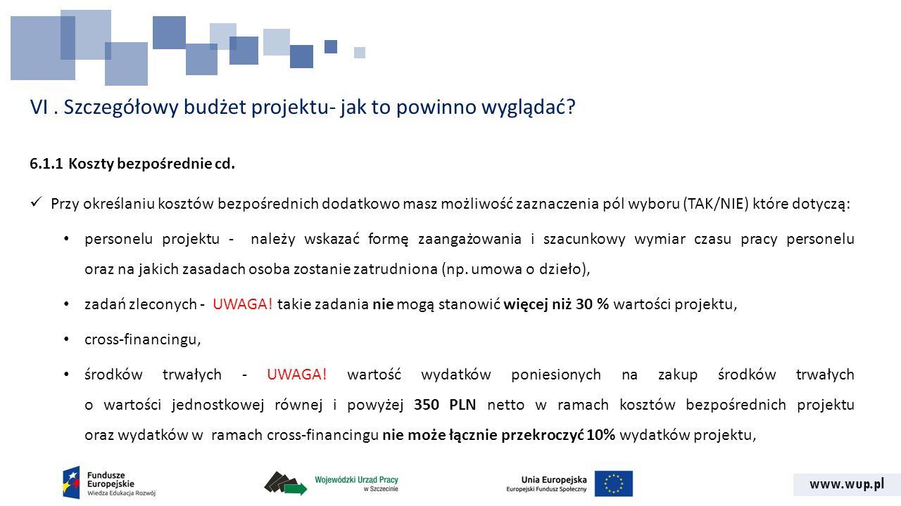 www.wup.pl VI. Szczegółowy budżet projektu- jak to powinno wyglądać? 6.1.1 Koszty bezpośrednie cd. Przy określaniu kosztów bezpośrednich dodatkowo mas