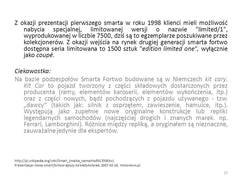Z okazji prezentacji pierwszego smarta w roku 1998 klienci mieli możliwość nabycia specjalnej, limitowanej wersji o nazwie limited/1 , wyprodukowanej w liczbie 7500, dziś są to egzemplarze poszukiwane przez kolekcjonerów.