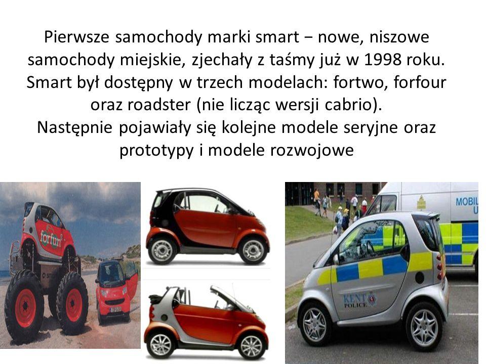 Pierwsze samochody marki smart − nowe, niszowe samochody miejskie, zjechały z taśmy już w 1998 roku. Smart był dostępny w trzech modelach: fortwo, for