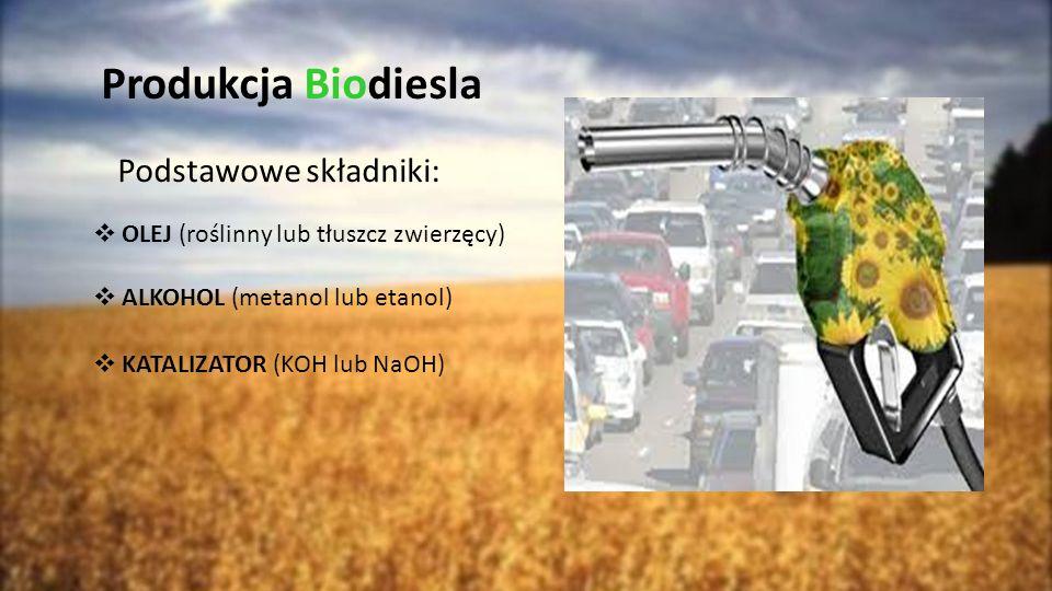 Produkcja Biodiesla Podstawowe składniki:  OLEJ (roślinny lub tłuszcz zwierzęcy)  ALKOHOL (metanol lub etanol)  KATALIZATOR (KOH lub NaOH)