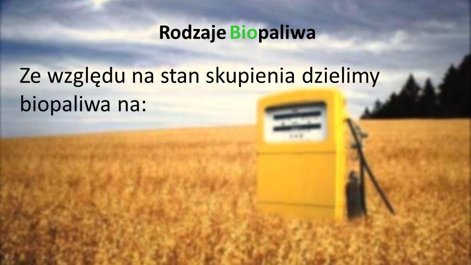 Rodzaje Biopaliwa Ze względu na stan skupienia dzielimy biopaliwa na: