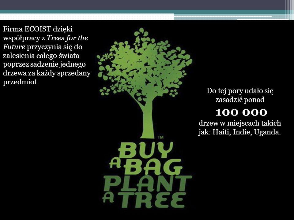 Do tej pory udało się zasadzić ponad 100 000 drzew w miejscach takich jak: Haiti, Indie, Uganda. Firma ECOIST dzięki współpracy z Trees for the Future