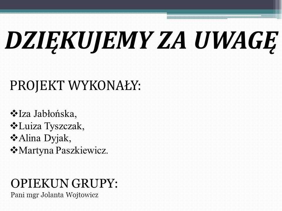 DZIĘKUJEMY ZA UWAGĘ PROJEKT WYKONAŁY:  Iza Jabłońska,  Luiza Tyszczak,  Alina Dyjak,  Martyna Paszkiewicz. OPIEKUN GRUPY: Pani mgr Jolanta Wojtowi