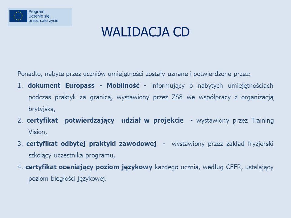 WALIDACJA CD Ponadto, nabyte przez uczniów umiejętności zostały uznane i potwierdzone przez: 1.