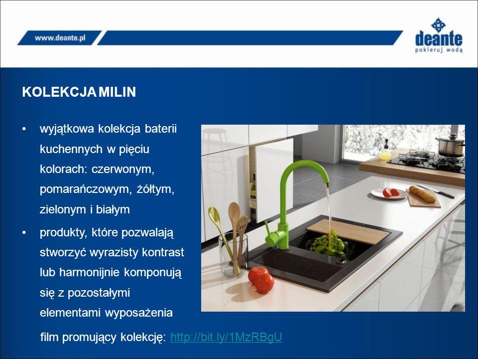 KOLEKCJA MILIN wyjątkowa kolekcja baterii kuchennych w pięciu kolorach: czerwonym, pomarańczowym, żółtym, zielonym i białym produkty, które pozwalają stworzyć wyrazisty kontrast lub harmonijnie komponują się z pozostałymi elementami wyposażenia film promujący kolekcję: http://bit.ly/1MzRBgUhttp://bit.ly/1MzRBgU