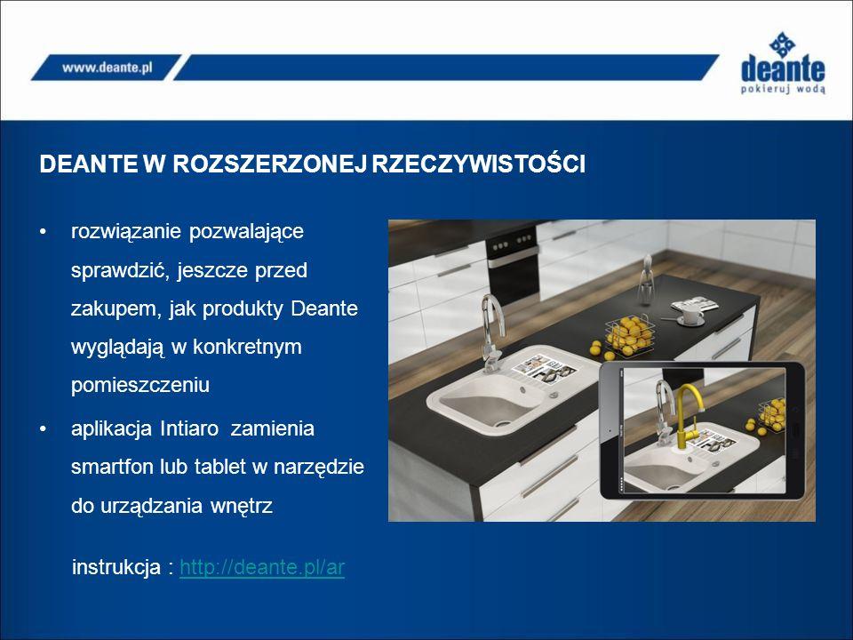 DEANTE W ROZSZERZONEJ RZECZYWISTOŚCI rozwiązanie pozwalające sprawdzić, jeszcze przed zakupem, jak produkty Deante wyglądają w konkretnym pomieszczeniu aplikacja Intiaro zamienia smartfon lub tablet w narzędzie do urządzania wnętrz instrukcja : http://deante.pl/arhttp://deante.pl/ar