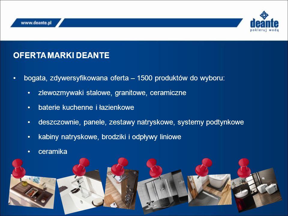 OFERTA MARKI DEANTE bogata, zdywersyfikowana oferta – 1500 produktów do wyboru: zlewozmywaki stalowe, granitowe, ceramiczne baterie kuchenne i łazienkowe deszczownie, panele, zestawy natryskowe, systemy podtynkowe kabiny natryskowe, brodziki i odpływy liniowe ceramika