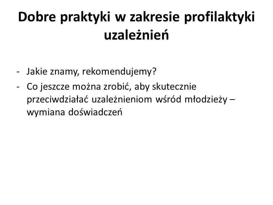 Dobre praktyki w zakresie profilaktyki uzależnień -Jakie znamy, rekomendujemy.
