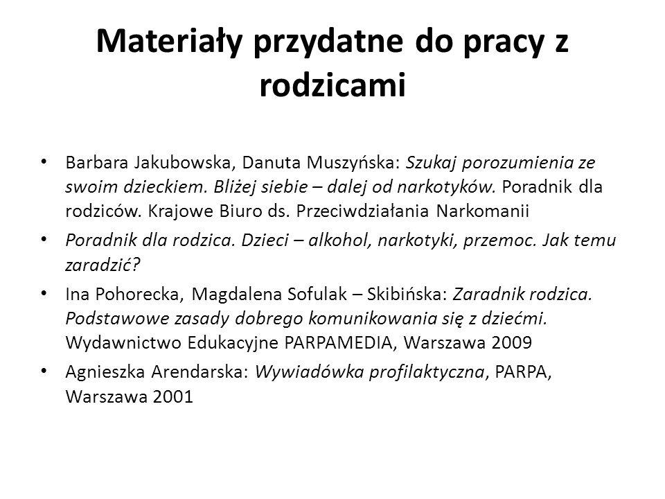 Materiały przydatne do pracy z rodzicami Barbara Jakubowska, Danuta Muszyńska: Szukaj porozumienia ze swoim dzieckiem.