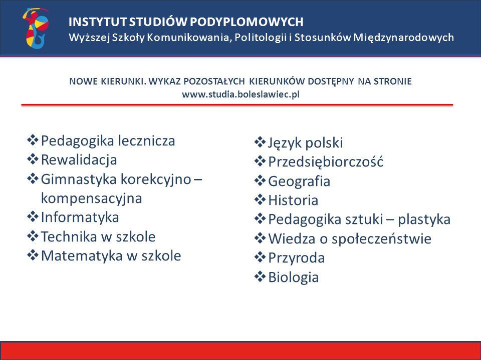 INSTYTUT STUDIÓW PODYPLOMOWYCH Wyższej Szkoły Komunikowania, Politologii i Stosunków Międzynarodowych NOWE KIERUNKI.