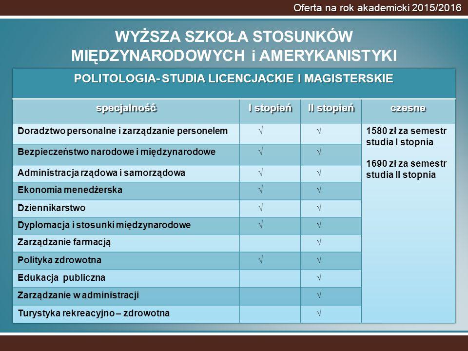 Oferta na rok akademicki 2015/2016 WYŻSZA SZKOŁA STOSUNKÓW MIĘDZYNARODOWYCH i AMERYKANISTYKI