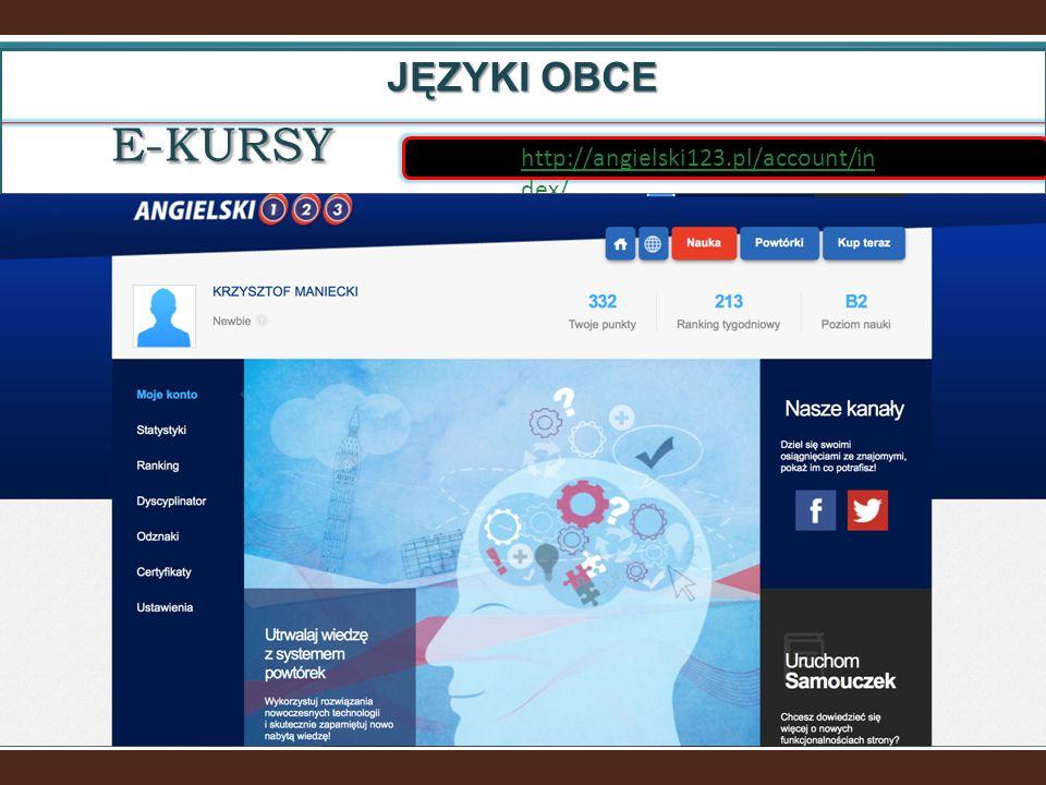 http://angielski123.pl/account/in dex/E-KURSY JĘZYKI OBCE