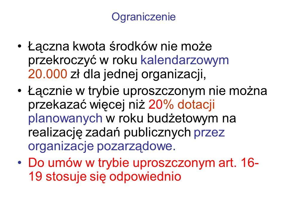 Ograniczenie Łączna kwota środków nie może przekroczyć w roku kalendarzowym 20.000 zł dla jednej organizacji, Łącznie w trybie uproszczonym nie można