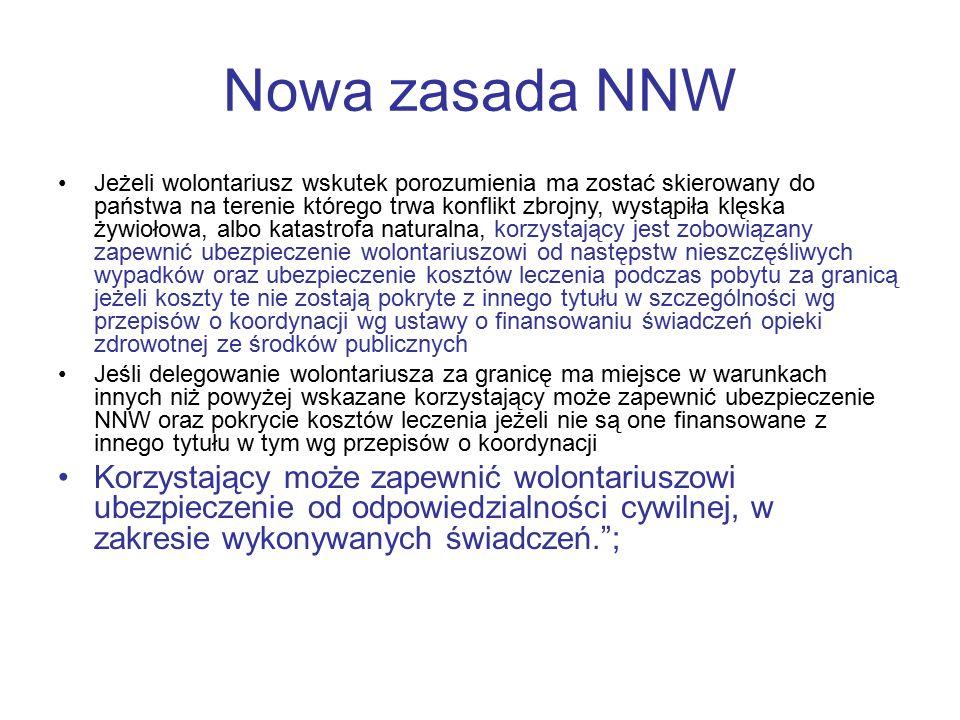 Nowa zasada NNW Jeżeli wolontariusz wskutek porozumienia ma zostać skierowany do państwa na terenie którego trwa konflikt zbrojny, wystąpiła klęska ży