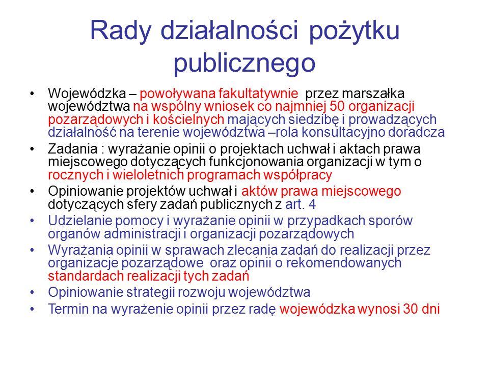 Rady działalności pożytku publicznego Wojewódzka – powoływana fakultatywnie przez marszałka województwa na wspólny wniosek co najmniej 50 organizacji