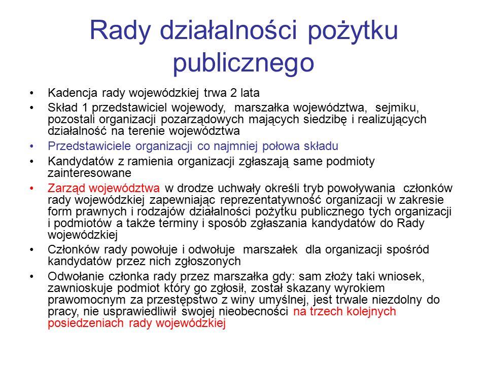 Rady działalności pożytku publicznego Kadencja rady wojewódzkiej trwa 2 lata Skład 1 przedstawiciel wojewody, marszałka województwa, sejmiku, pozostal