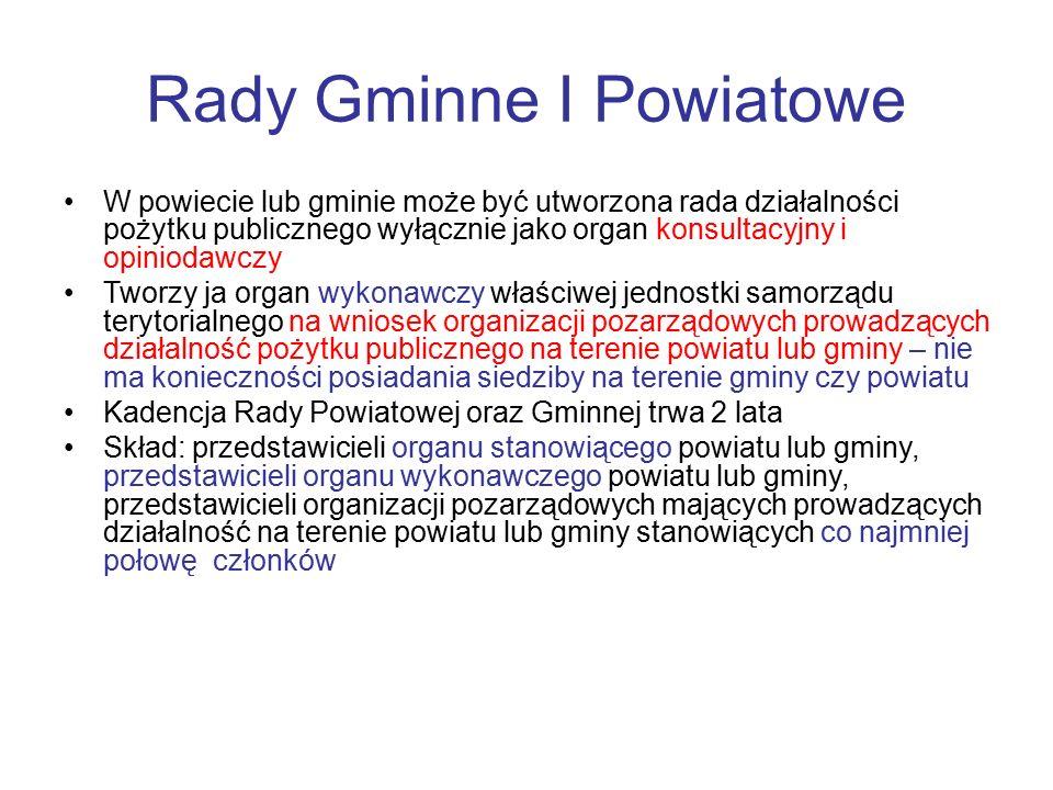 Rady Gminne I Powiatowe W powiecie lub gminie może być utworzona rada działalności pożytku publicznego wyłącznie jako organ konsultacyjny i opiniodawc