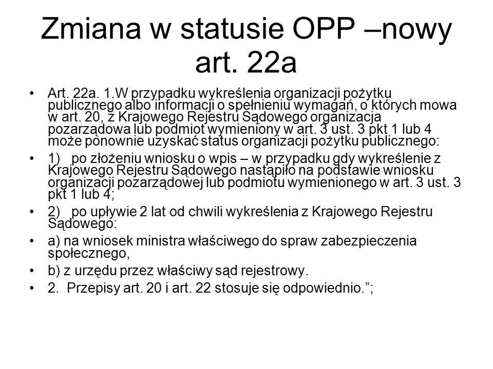 Zmiana w statusie OPP –nowy art. 22a Art. 22a. 1.W przypadku wykreślenia organizacji pożytku publicznego albo informacji o spełnieniu wymagań, o który