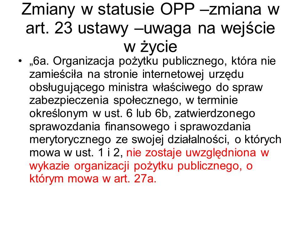 """Zmiany w statusie OPP –zmiana w art. 23 ustawy –uwaga na wejście w życie """"6a. Organizacja pożytku publicznego, która nie zamieściła na stronie interne"""