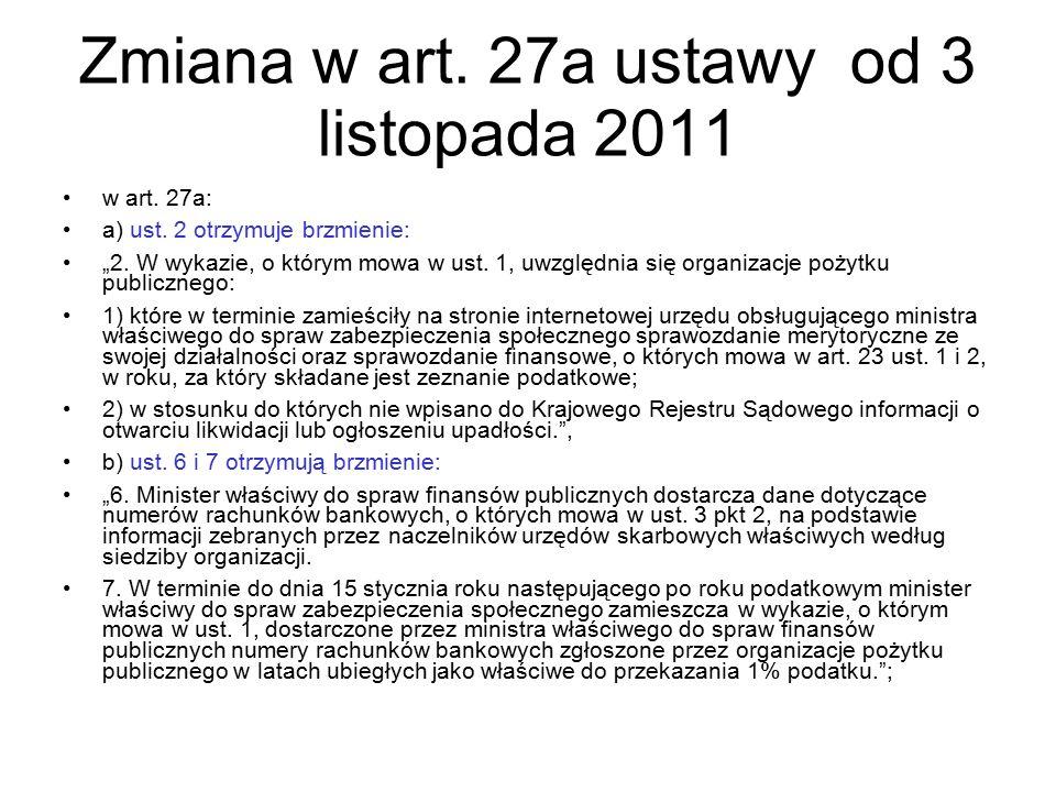 """Zmiana w art. 27a ustawy od 3 listopada 2011 w art. 27a: a) ust. 2 otrzymuje brzmienie: """"2. W wykazie, o którym mowa w ust. 1, uwzględnia się organiza"""