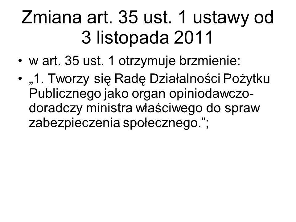 """Zmiana art. 35 ust. 1 ustawy od 3 listopada 2011 w art. 35 ust. 1 otrzymuje brzmienie: """"1. Tworzy się Radę Działalności Pożytku Publicznego jako organ"""