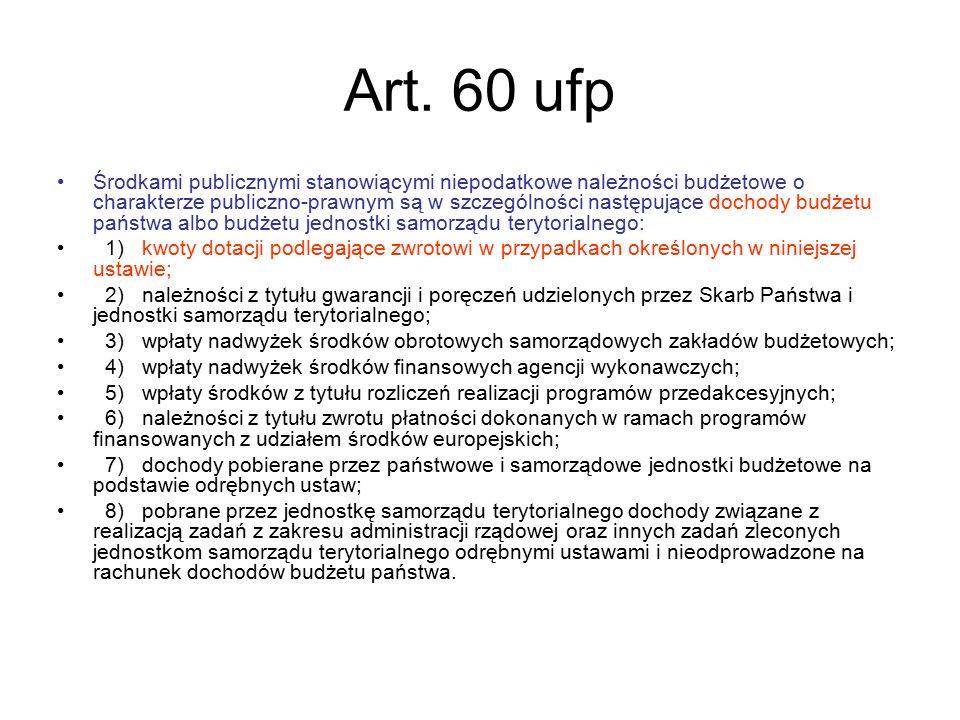 Art. 60 ufp Środkami publicznymi stanowiącymi niepodatkowe należności budżetowe o charakterze publiczno-prawnym są w szczególności następujące dochody