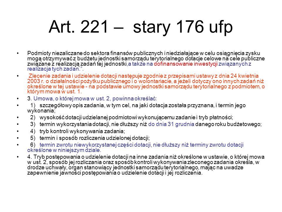 Art. 221 – stary 176 ufp Podmioty niezaliczane do sektora finansów publicznych i niedziałające w celu osiągnięcia zysku mogą otrzymywać z budżetu jedn
