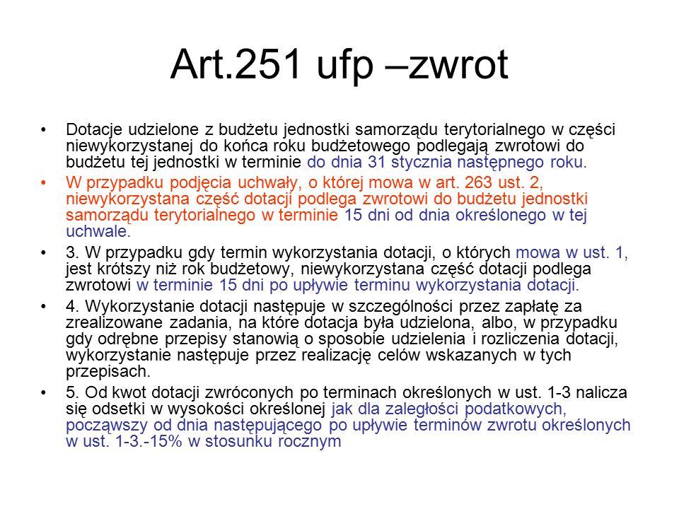 Art.251 ufp –zwrot Dotacje udzielone z budżetu jednostki samorządu terytorialnego w części niewykorzystanej do końca roku budżetowego podlegają zwroto