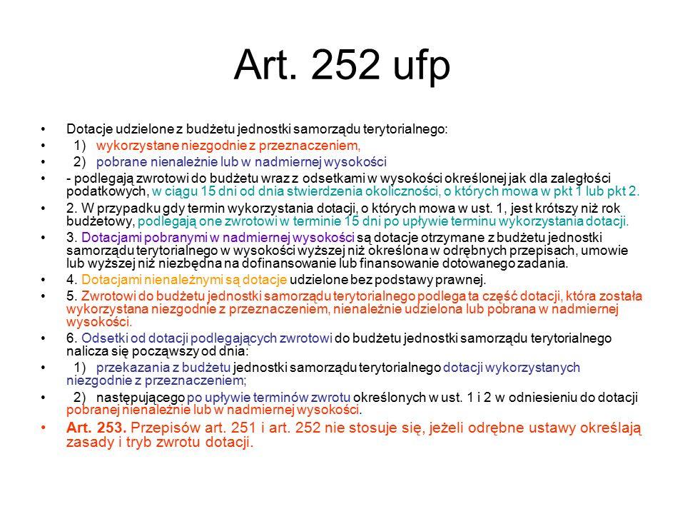 Art. 252 ufp Dotacje udzielone z budżetu jednostki samorządu terytorialnego: 1) wykorzystane niezgodnie z przeznaczeniem, 2) pobrane nienależnie lub w