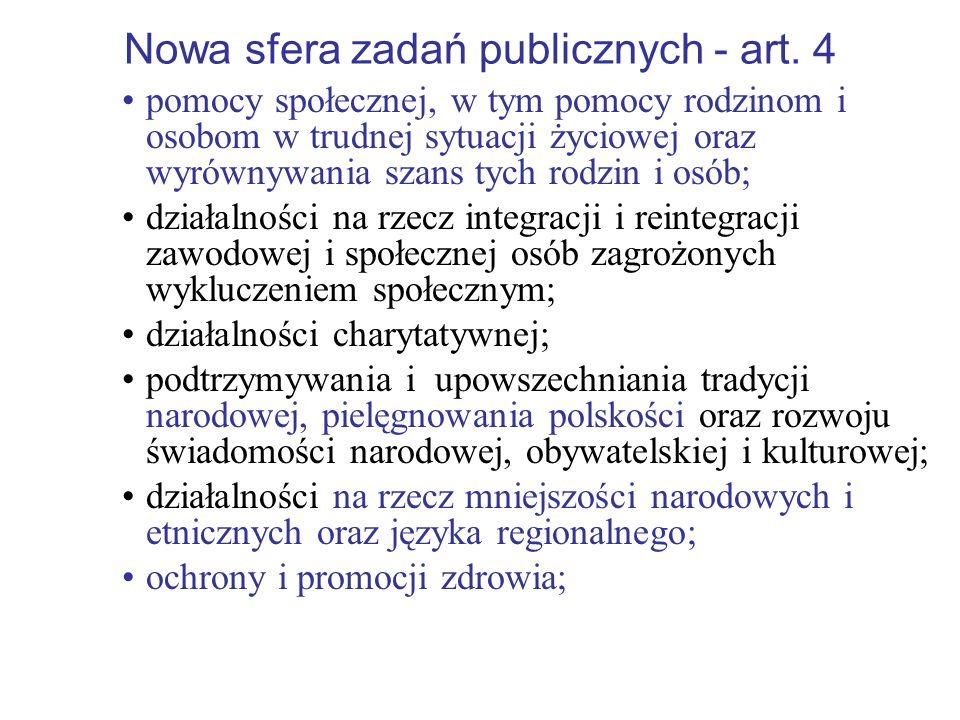 Nowa sfera zadań publicznych - art. 4 pomocy społecznej, w tym pomocy rodzinom i osobom w trudnej sytuacji życiowej oraz wyrównywania szans tych rodzi