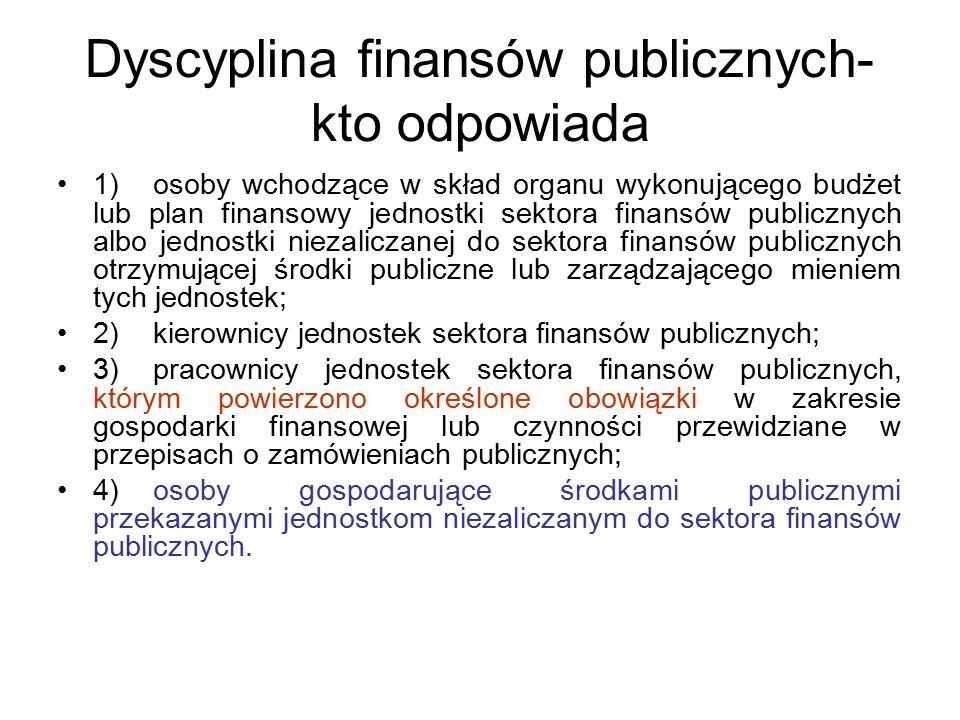 Dyscyplina finansów publicznych- kto odpowiada 1)osoby wchodzące w skład organu wykonującego budżet lub plan finansowy jednostki sektora finansów publ