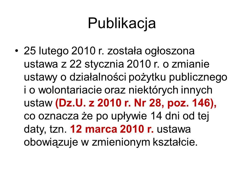 Publikacja 25 lutego 2010 r. została ogłoszona ustawa z 22 stycznia 2010 r. o zmianie ustawy o działalności pożytku publicznego i o wolontariacie oraz