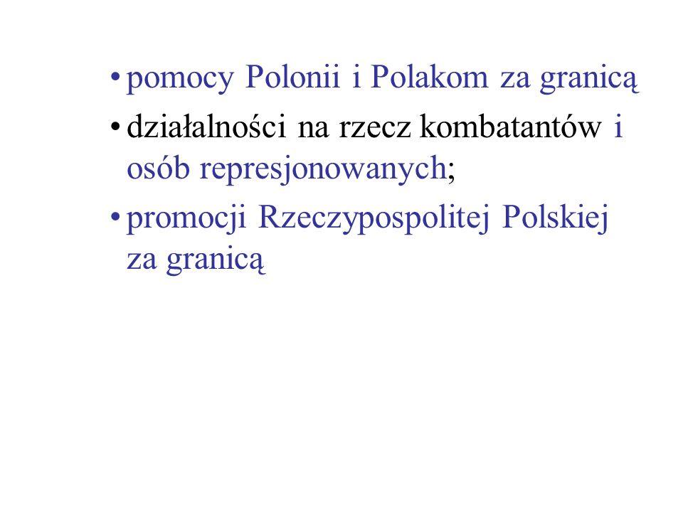 pomocy Polonii i Polakom za granicą działalności na rzecz kombatantów i osób represjonowanych; promocji Rzeczypospolitej Polskiej za granicą