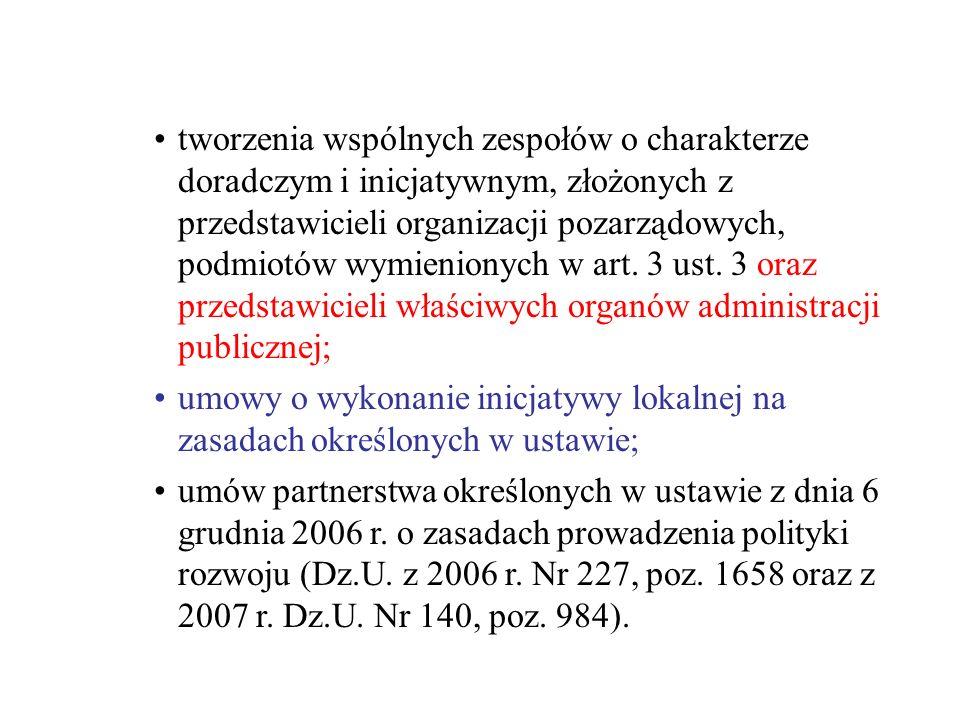 tworzenia wspólnych zespołów o charakterze doradczym i inicjatywnym, złożonych z przedstawicieli organizacji pozarządowych, podmiotów wymienionych w a
