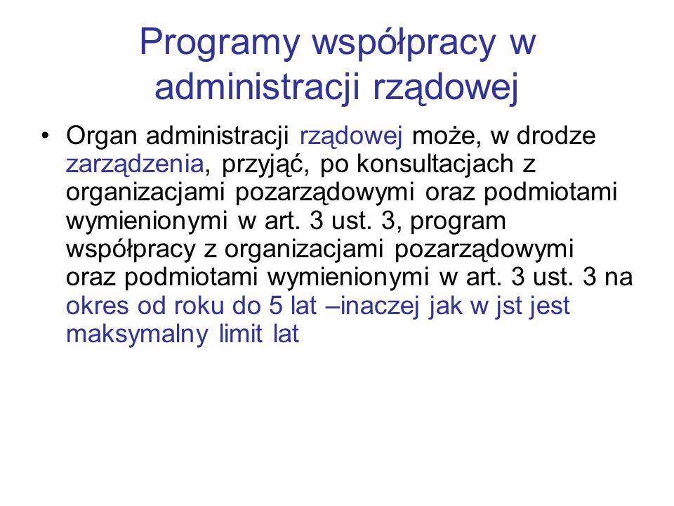Programy współpracy w administracji rządowej Organ administracji rządowej może, w drodze zarządzenia, przyjąć, po konsultacjach z organizacjami pozarz